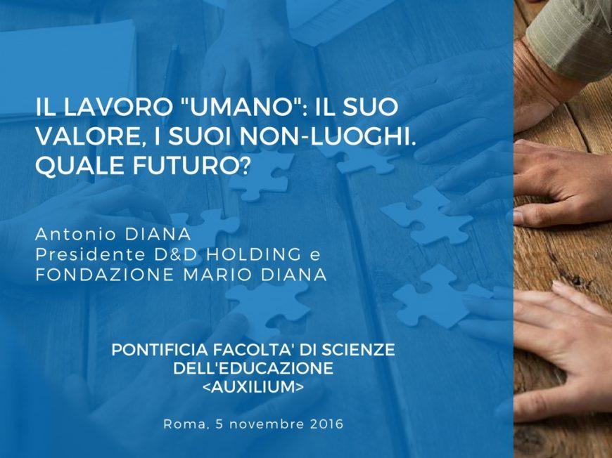 """""""La dimensione umana del lavoro"""": Antonio Diana alla Pontificia Facoltà Auxilium"""