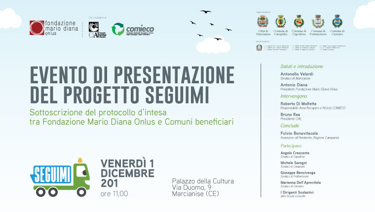 """EVENTO DI PRESENTAZIONE DEL PROGETTO """"SEGUIMI"""" della FONDAZIONE MARIO DIANA ONLUS – Sottoscrizione protocollo d'intesa con i Comuni beneficiari"""
